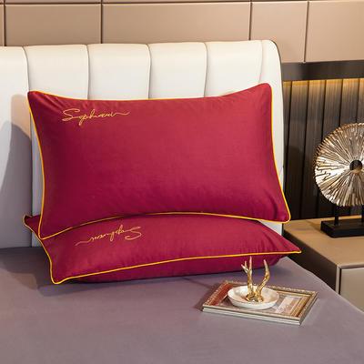 2020新款-40s贡缎长绒棉字母款单品枕套 48*74cm/一对 紫嫣红