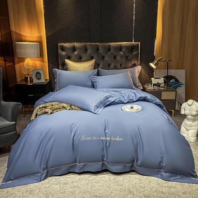 2021新款-40s贡缎长绒棉全棉四件套轻奢纯棉床上用品 1.5m床单款四件套 碧海蓝