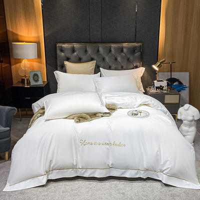 2021新款-40s贡缎长绒棉全棉四件套轻奢纯棉床上用品 1.5m床单款四件套 纯情白