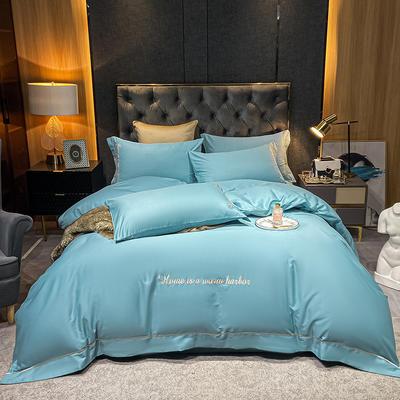 2021新款-40s贡缎长绒棉全棉四件套轻奢纯棉床上用品 1.5m床单款四件套 海草绿