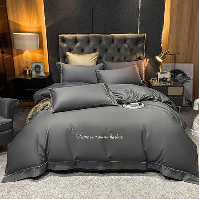 2021新款-40s贡缎长绒棉全棉四件套轻奢纯棉床上用品 1.5m床单款四件套 火山灰