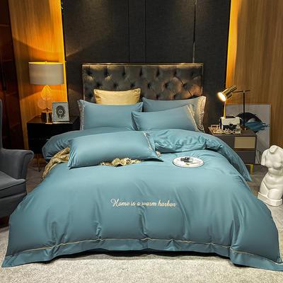 2021新款-40s贡缎长绒棉全棉四件套轻奢纯棉床上用品 1.8m床单款四件套 摩卡绿