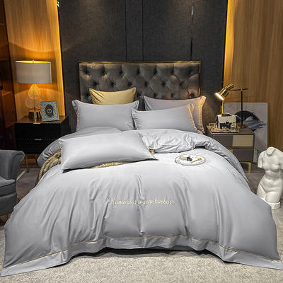 2021新款-40s贡缎长绒棉全棉四件套轻奢纯棉床上用品 1.8m床单款四件套 星河银