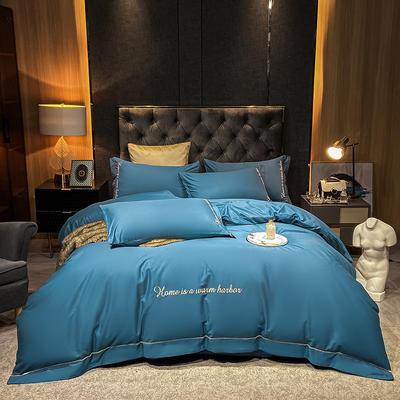2021新款-40s贡缎长绒棉全棉四件套轻奢纯棉床上用品 1.8m床单款四件套 星空蓝