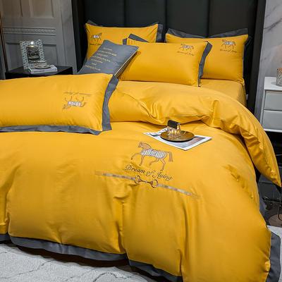 2021新款40s贡缎长绒棉四件套-骏系列 1.8m床单款四件套 骏-柠檬黄
