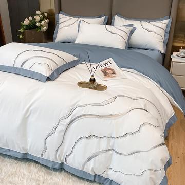 2021新款40s贡缎长绒棉纯色全棉四件套轻奢全棉床上用品