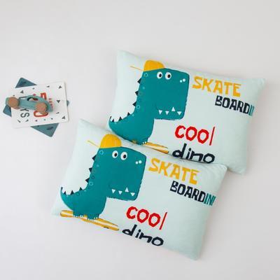 2020新款宝宝绒数码印花儿童枕套 40cmX60cm/只 滑板恐龙