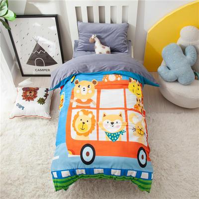 2020新款宝贝宝宝绒卡通大版数码印花幼儿园套件 120*150三件套(垫套60*120) 动物巴士