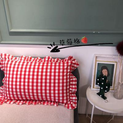 2021新款双层丝棉奶油格子系列-单枕套 48cmX74cm/只 草莓格