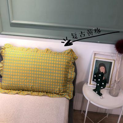 2021新款双层丝棉奶油格子系列-单枕套 48cmX74cm/只 复古黄格