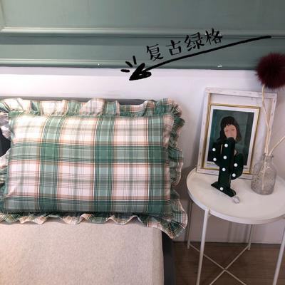 2021新款双层丝棉奶油格子系列-单枕套 48cmX74cm/只 复古绿格