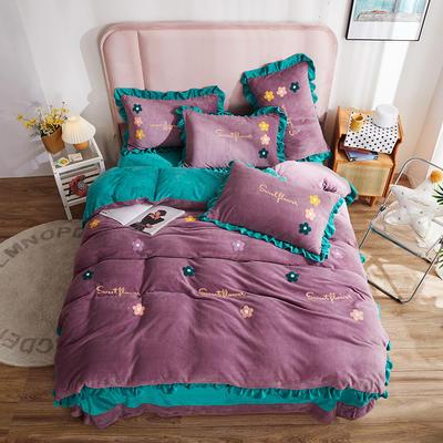 2021新款牛奶绒法莱绒四件套水晶绒毛巾绣四件套 1.8m床单款四件套 花儿雅典紫