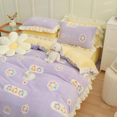 2021新款韩版加厚牛奶绒四件套 1.8m床单款四件套 彩虹花朵