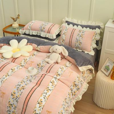 2021新款韩版加厚牛奶绒四件套 1.8m床单款四件套 花园梦