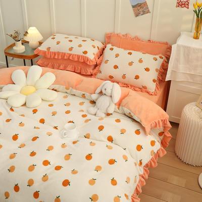 2021新款韩版加厚牛奶绒四件套 1.8m床单款四件套 香甜橘子
