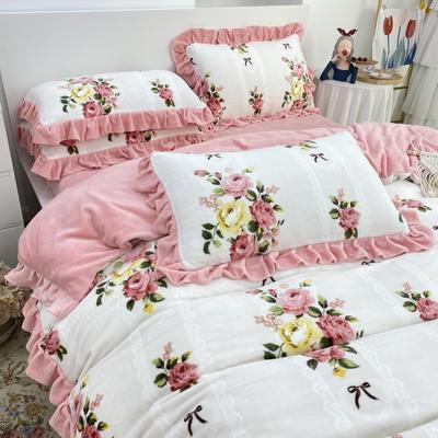 2021新款韩版加厚牛奶绒四件套 1.8m床单款四件套 法式浪漫粉