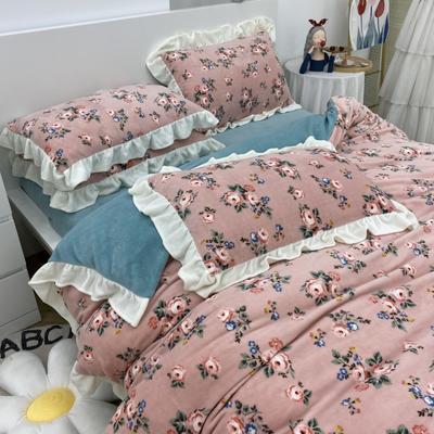 2021新款韩版加厚牛奶绒四件套 1.8m床单款四件套 复古蔷薇粉