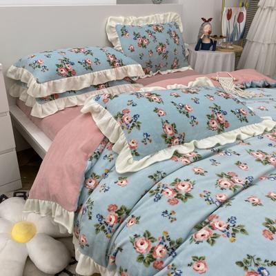2021新款韩版加厚牛奶绒四件套 1.8m床单款四件套 复古蔷薇蓝
