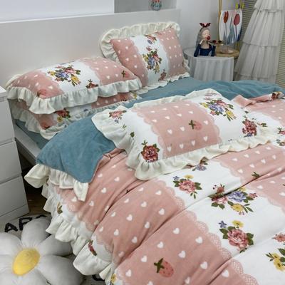 2021新款韩版加厚牛奶绒四件套 1.8m床单款四件套 花花草莓粉