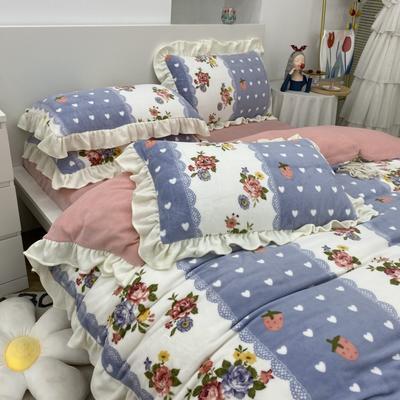 2021新款韩版加厚牛奶绒四件套 1.8m床单款四件套 花花草莓紫