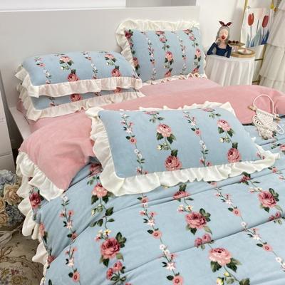 2021新款韩版加厚牛奶绒四件套 1.8m床单款四件套 浪漫玫瑰