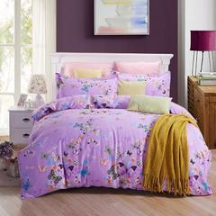 蝴蝶翩翩紫-活性全棉磨毛四件套加厚磨毛四件套床上用品纯棉磨毛四件套 1.8m(6英尺)床 花色请留言
