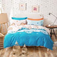 心相映(蓝) 新款12868全棉斜纹印花四件套 双人床四件套 床上用品 1.5m(5英尺)床 心相映(蓝)