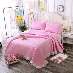 粉色-新款花边绗缝水洗棉夏被三件套 200X230cm 粉色