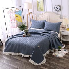 深蓝色-新款花边绗缝水洗棉夏被三件套 200X230cm 深蓝色