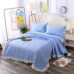 天蓝-新款花边绗缝水洗棉夏被三件套 200X230cm 天蓝