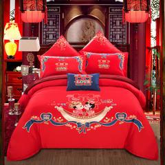 总:婚庆绣花四件套/多件套 全棉绣花四件套绣花多件套婚庆床上用品 1.8m(6英尺)床 爱情故事