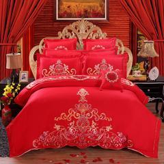 【总】13372全棉丝光棉60S婚庆绣花四件套多件套 2.2m(7英尺)床 浪漫婚典