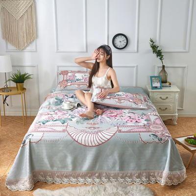 可机洗可水洗数码印花蕾丝边床单款冰丝席三件套600D冰丝席床单款凉席床单凉席加厚高克重 2.5*2.5m凉席三件套 4508洛林花园-绿