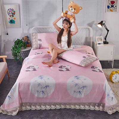 可机洗可水洗数码印花蕾丝边床单款冰丝席三件套600D冰丝席床单款凉席床单凉席加厚高克重 2.5*2.5m凉席三件套 6015小熊猫-粉