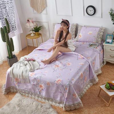 可机洗可水洗数码印花蕾丝边床单款冰丝席三件套600D冰丝席床单款凉席床单凉席加厚高克重 2.5*2.5m凉席三件套 8038花满枝-紫