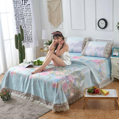 可机洗可水洗数码印花蕾丝边床单款冰丝席三件套600D冰丝席床单款凉席床单凉席加厚高克重 2.5*2.5m凉席三件套 9107满庭芳-绿