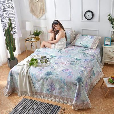可机洗可水洗数码印花蕾丝边床单款冰丝席三件套600D冰丝席床单款凉席床单凉席加厚高克重 2.5*2.5m凉席三件套 TH-2百草绿