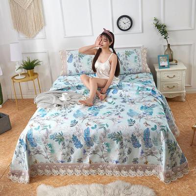 可机洗可水洗数码印花蕾丝边床单款冰丝席三件套600D冰丝席床单款凉席床单凉席加厚高克重 2.5*2.5m凉席三件套 TH-3叶之恋