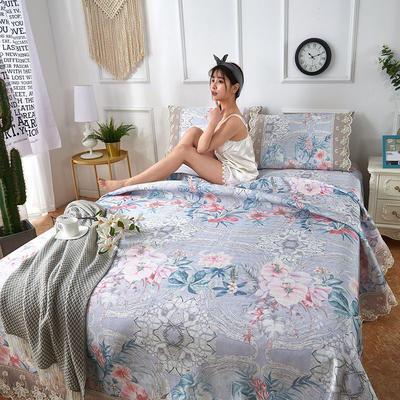 可机洗可水洗数码印花蕾丝边床单款冰丝席三件套600D冰丝席床单款凉席床单凉席加厚高克重 2.5*2.5m凉席三件套 TH-4花铃兰-灰