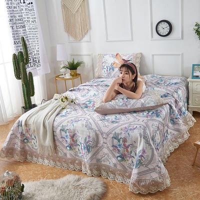 可机洗可水洗数码印花蕾丝边床单款冰丝席三件套600D冰丝席床单款凉席床单凉席加厚高克重 2.5*2.5m凉席三件套 TH-5鹊语-粉