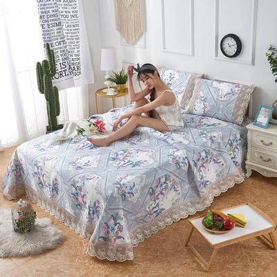 可机洗可水洗数码印花蕾丝边床单款冰丝席三件套600D冰丝席床单款凉席床单凉席加厚高克重 2.5*2.5m凉席三件套 TH-5鹊语-兰