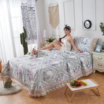 可机洗可水洗数码印花蕾丝边床单款冰丝席三件套600D冰丝席床单款凉席床单凉席加厚高克重 2.5*2.5m凉席三件套 TH-5鹊语-绿