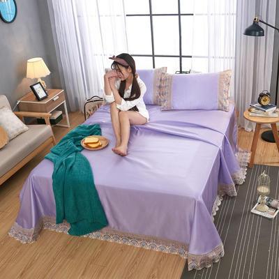 2020-可机洗可水洗蕾丝纯色冰丝席床单款三件套  韩版花边田园风床单款冰丝席凉席床单 245*250cm凉席三件套 冰丝贵妃紫