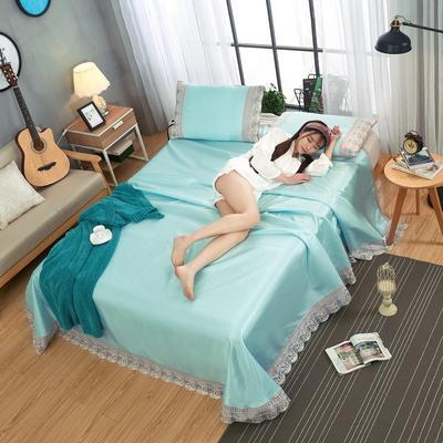 2020-可机洗可水洗蕾丝纯色冰丝席床单款三件套  韩版花边田园风床单款冰丝席凉席床单 245*250cm凉席三件套 冰丝水绿
