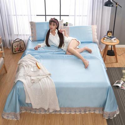 2020-可机洗可水洗蕾丝纯色冰丝席床单款三件套  韩版花边田园风床单款冰丝席凉席床单 245*250cm凉席三件套 冰丝天蓝