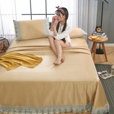2020-可机洗可水洗蕾丝纯色冰丝席床单款三件套  韩版花边田园风床单款冰丝席凉席床单 245*250cm凉席三件套 冰丝土豪金