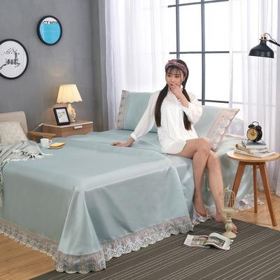 2020-可机洗可水洗蕾丝纯色冰丝席床单款三件套  韩版花边田园风床单款冰丝席凉席床单 245*250cm凉席三件套 冰丝银灰