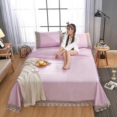 浅紫 2018可机洗可水洗纯色蕾丝床单款冰丝席三件套  冰丝席床单款凉席床单凉席 2.5*2.5m凉席三件套 浅紫