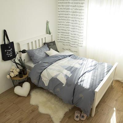 单人床13070全棉窄幅大版花三件套 学生床儿童卡通纯棉三件套纯棉床上用品三件套 1.35m(4.5英尺)床 北极熊