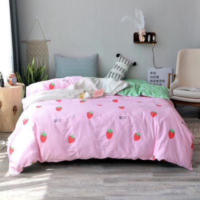 【总】北欧小清新12868多规格单品被套 纯棉斜纹印花被套全棉被套 180*220cm被套 甜心草莓
